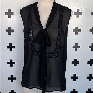 Pins & Needles sheer button down sleeveless top